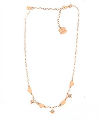 Collana Donna Zirconi Cuori e Rosa dei Venti Piti Malì PIT 131/C-AM