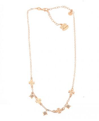 Collana Donna Quadrifogli e Rosa dei Venti con zirconi Piti Malì PIT 131/C-FO