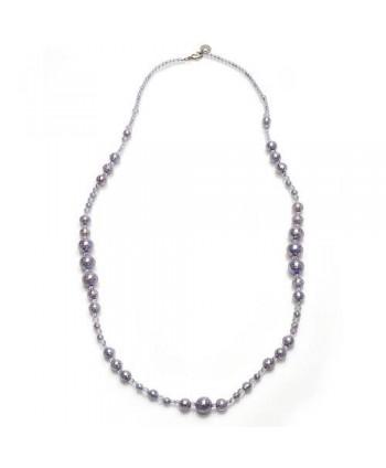 Collana Antica Murrina Collezione Perleadi con perle di vetro bianco effetto pastello e perle di fiume lilla