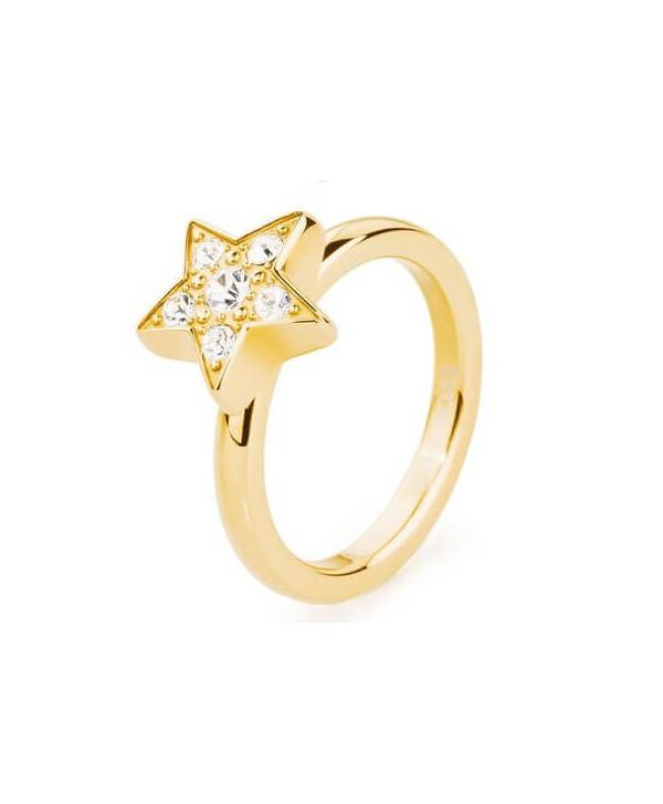 Anello Tring brosway BTGC127 stella pvd oro e cristalli swarovski sogno