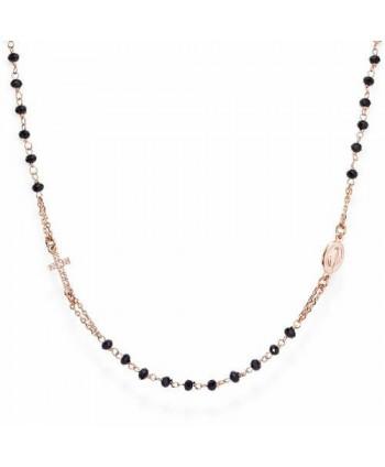 Collana donna Amen Rosari argento e cristalli pavé neri CRORNZ3