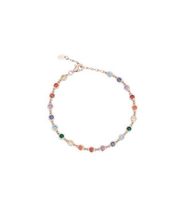Bracciale Mabina Arcobaleno argento rosato e zirconi colorati tondi 533331