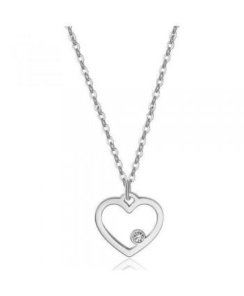 Collana S'Agapõ Pretty con cuore argentato e cristallo SPE01