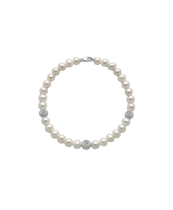 Bracciale Miluna perle diamantate