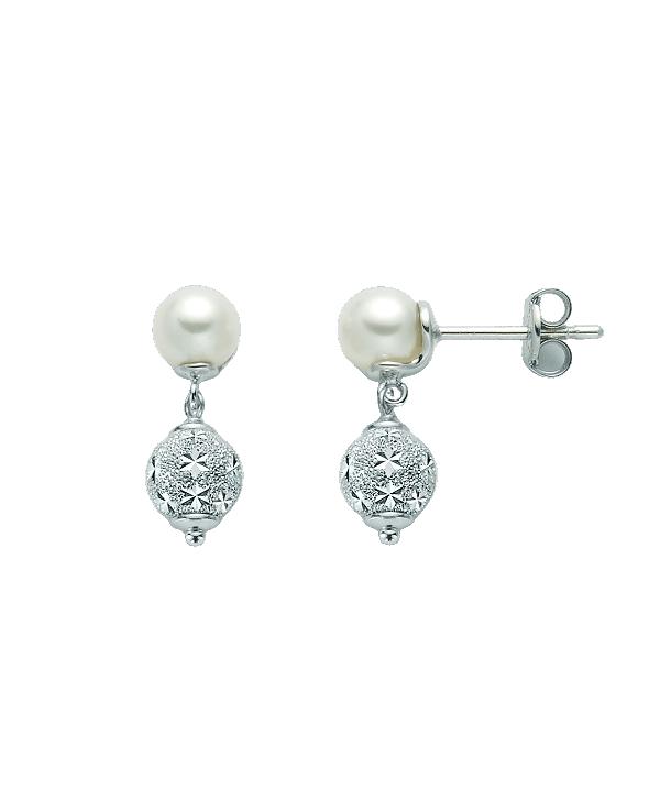Orecchini Miluna perle diamantate