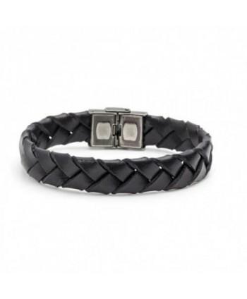 Bracciale Marlù Man Trendy cuoio intrecciato nero 4BR1805N