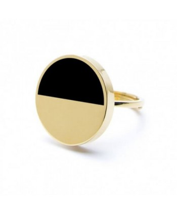 Anello Marlù Be Woman bicolore 2 cm acciaio dorato e smalto nero 2AN0031G-NG