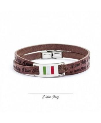 Bracciale Marlù Italia nel cuore pelle e targa scorrevole 22br010m