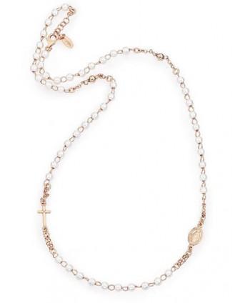 Collana Amen Rosario Girocollo perle argento/oro rosa