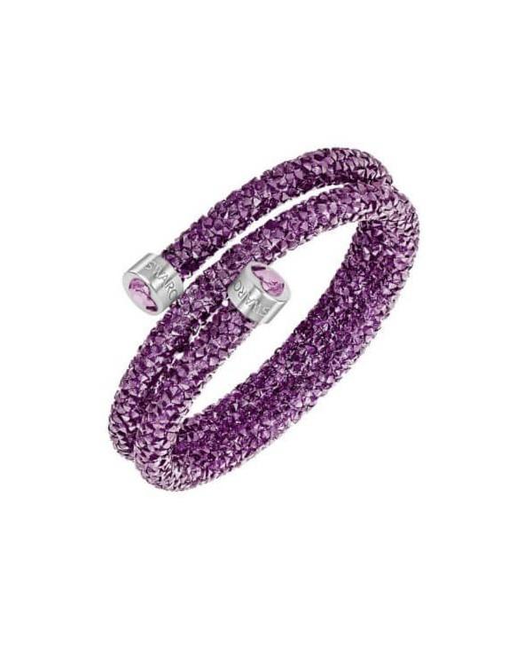 Bracciale rigido Swarovski Crystaldust Heart Double Viola 5278497 5292451