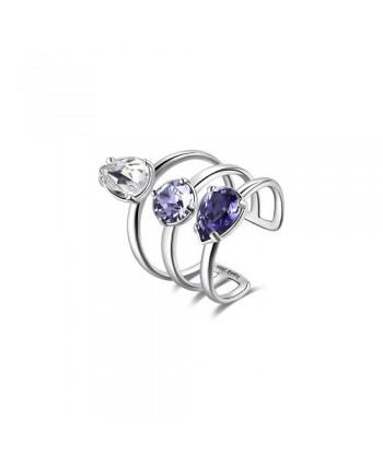 Anello Brosway Affinity cristalli swarovski bianco e viola BFF146