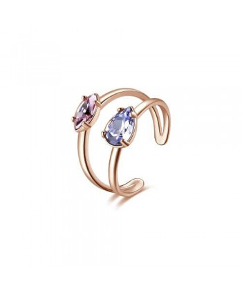 Anello Brosway Affinity rosato con cristalli viola e rosa BFF148B