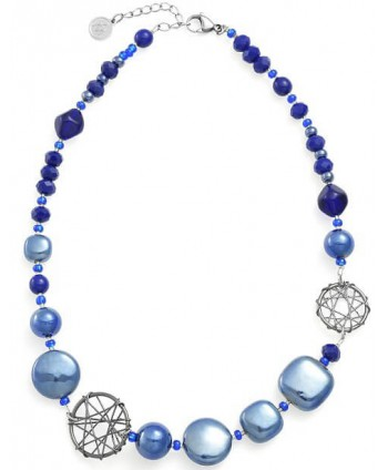 Collana Antica Murrina Top Natural Circle blu