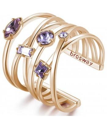 Anello fascia larga Brosway Affinity oro rosa e viola BFF126