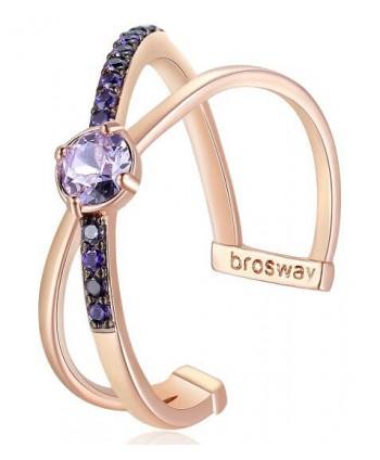 Anello Brosway Affinity solitario oro rosa e viola BFF129