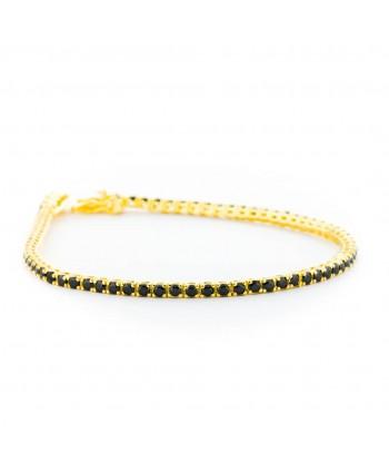 Bracciale Tennis Faga Collection dorato con zirconi neri